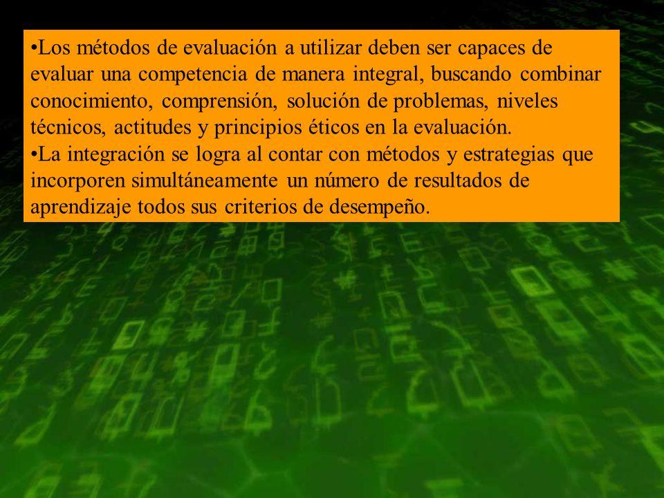 Los métodos de evaluación a utilizar deben ser capaces de evaluar una competencia de manera integral, buscando combinar conocimiento, comprensión, sol