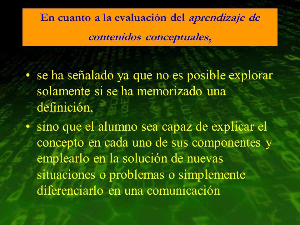 En cuanto a la evaluación del aprendizaje de contenidos conceptuales, se ha señalado ya que no es posible explorar solamente si se ha memorizado una d
