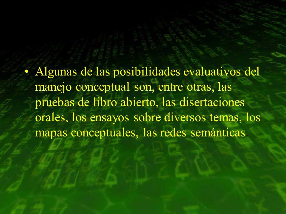 Algunas de las posibilidades evaluativos del manejo conceptual son, entre otras, las pruebas de libro abierto, las disertaciones orales, los ensayos s
