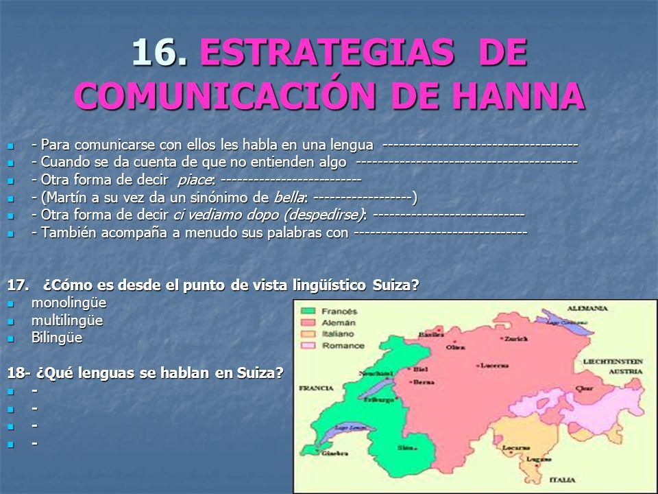 16. ESTRATEGIAS DE COMUNICACIÓN DE HANNA - Para comunicarse con ellos les habla en una lengua ------------------------------------ - Para comunicarse