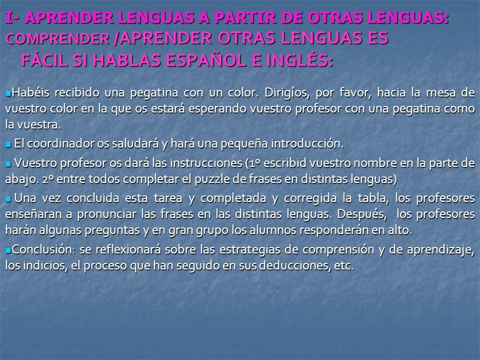 I- APRENDER LENGUAS A PARTIR DE OTRAS LENGUAS: COMPRENDER /APRENDER OTRAS LENGUAS ES FÁCIL SI HABLAS ESPAÑOL E INGLÉS: Habéis recibido una pegatina co