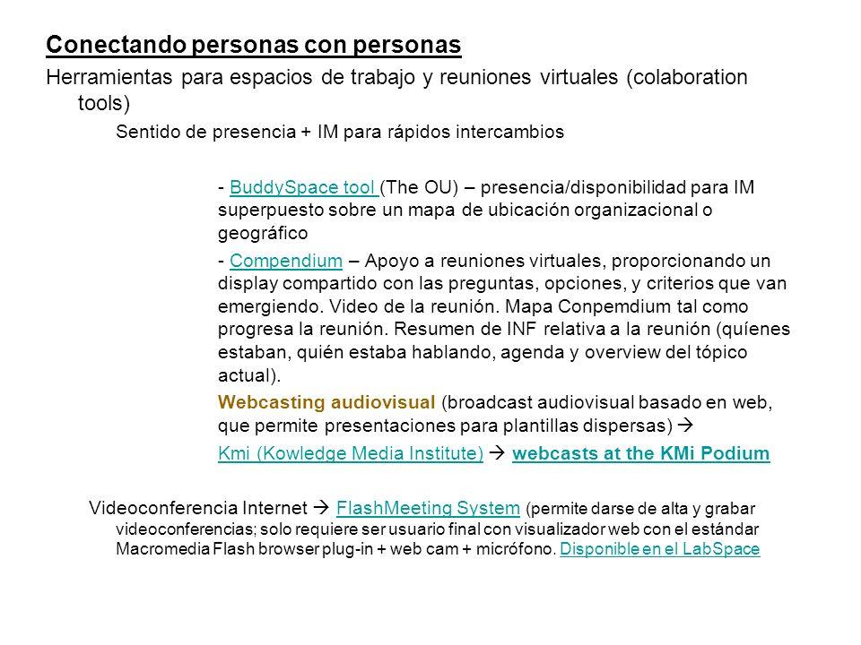 Conectando personas con personas Herramientas para espacios de trabajo y reuniones virtuales (colaboration tools) Sentido de presencia + IM para rápid