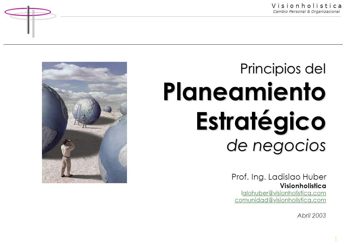 1 V i s i o n h o l i s t i c a Cambio Personal & Organizacional Principios del Planeamiento Estratégico de negocios Prof. Ing. Ladislao Huber Visionh