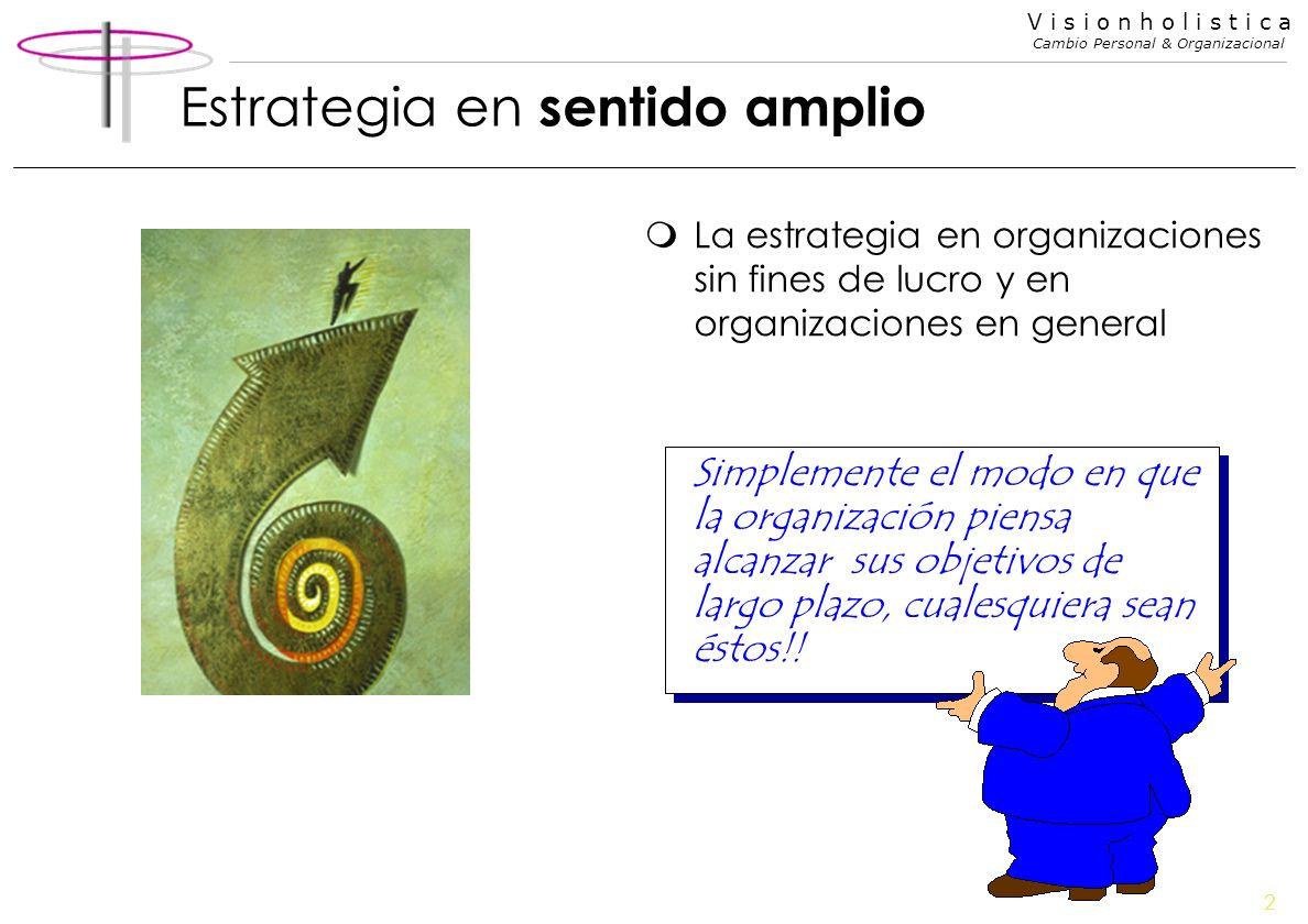 2 V i s i o n h o l i s t i c a Cambio Personal & Organizacional Estrategia en sentido amplio mLa estrategia en organizaciones sin fines de lucro y en