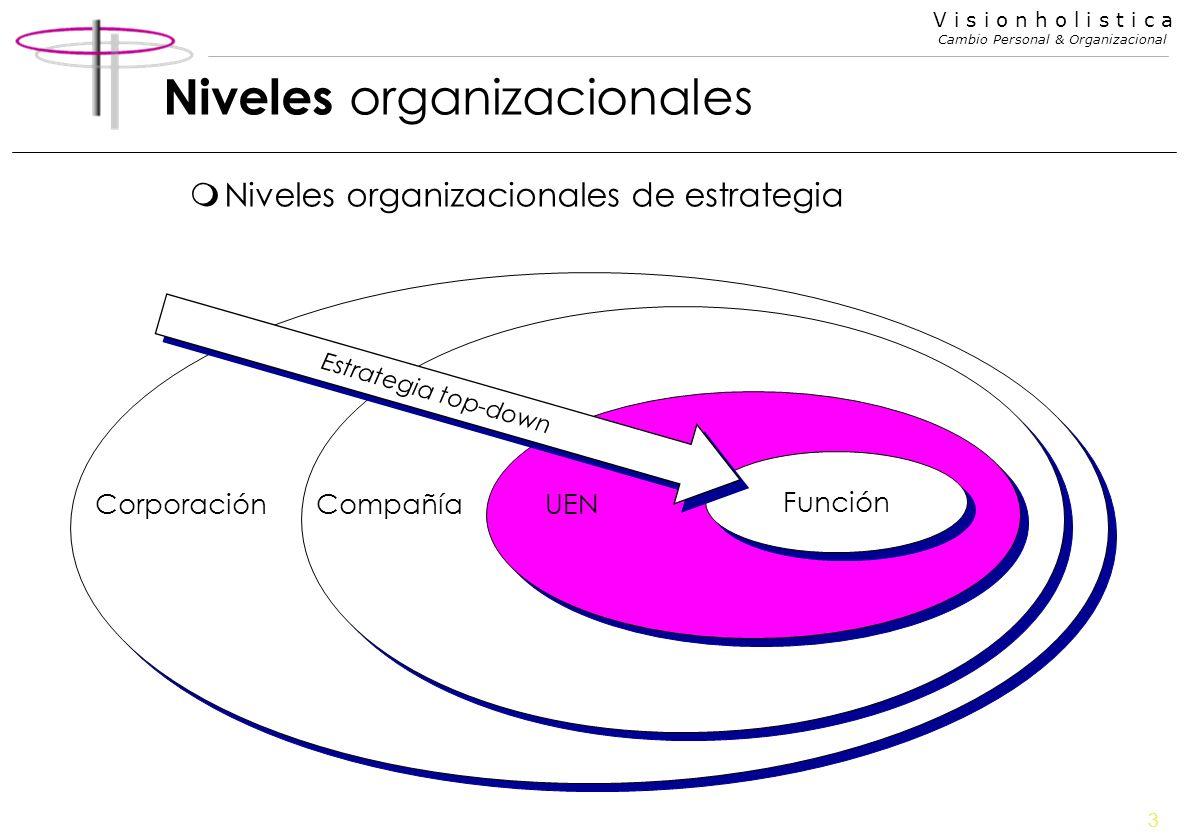 3 V i s i o n h o l i s t i c a Cambio Personal & Organizacional Niveles organizacionales mNiveles organizacionales de estrategia Función UENCompañíaC