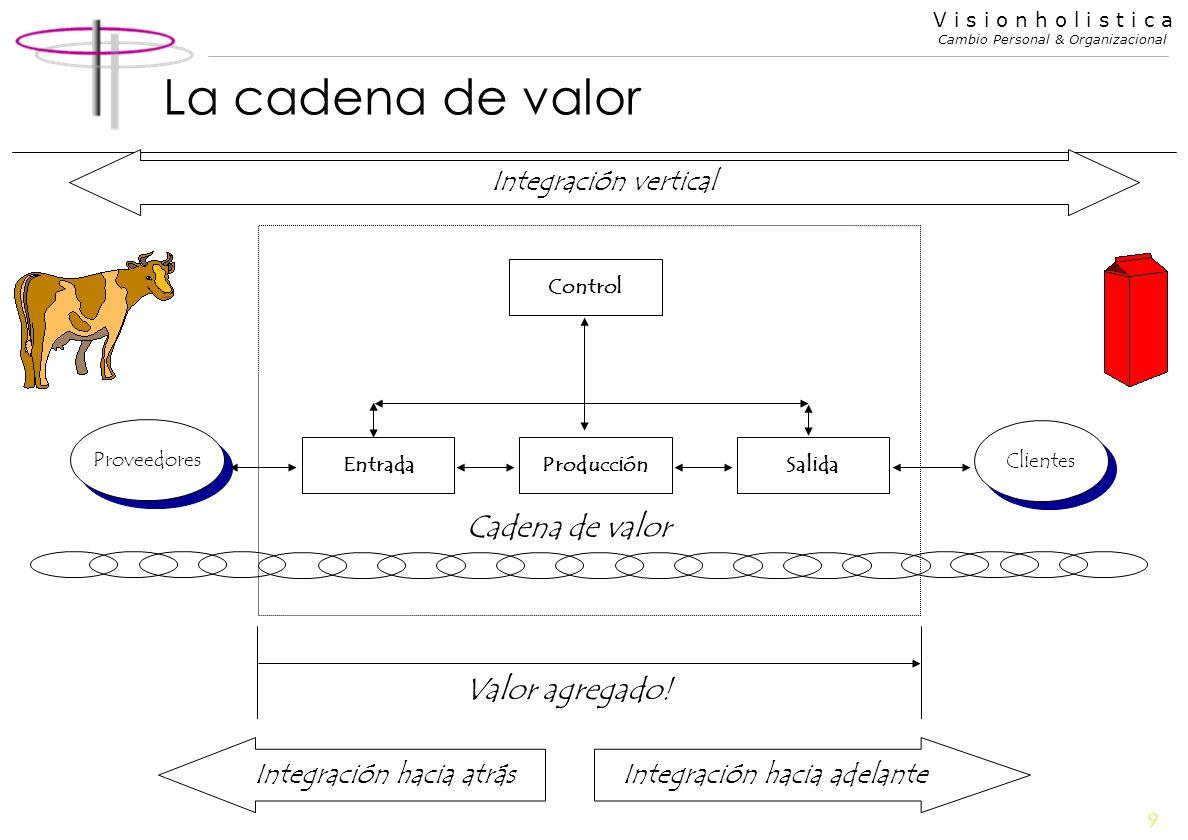9 V i s i o n h o l i s t i c a Cambio Personal & Organizacional La cadena de valor SalidaProducciónEntrada Control Proveedores Clientes Valor agregad