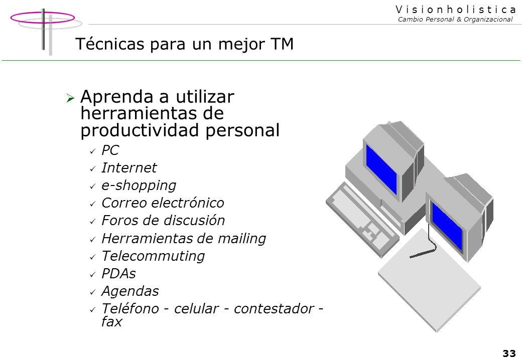 32 V i s i o n h o l i s t i c a Cambio Personal & Organizacional Técnicas para un mejor TM Elimine el vicio argentino de la queja continua..!!!! La q