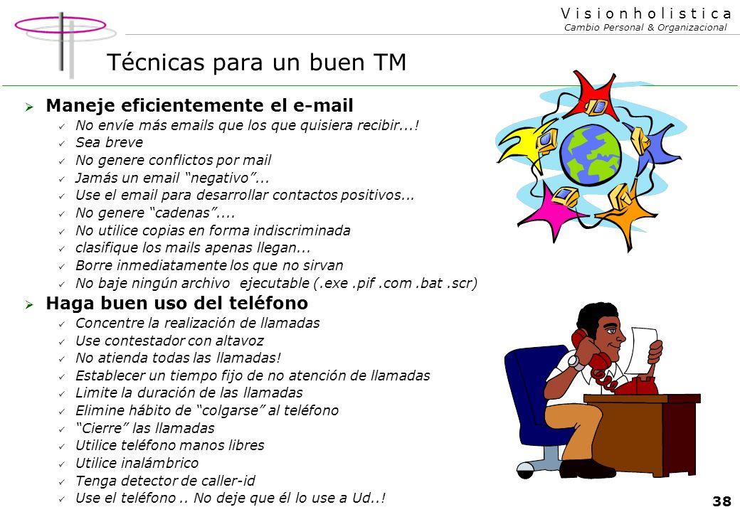 37 V i s i o n h o l i s t i c a Cambio Personal & Organizacional Técnicas para un mejor TM Evite conflictos interpersonales..!!! Los conflictos son t