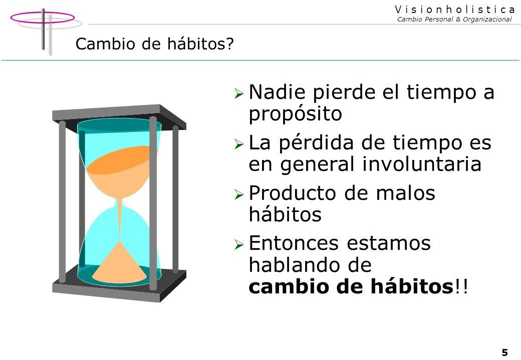 5 V i s i o n h o l i s t i c a Cambio Personal & Organizacional Cambio de hábitos.