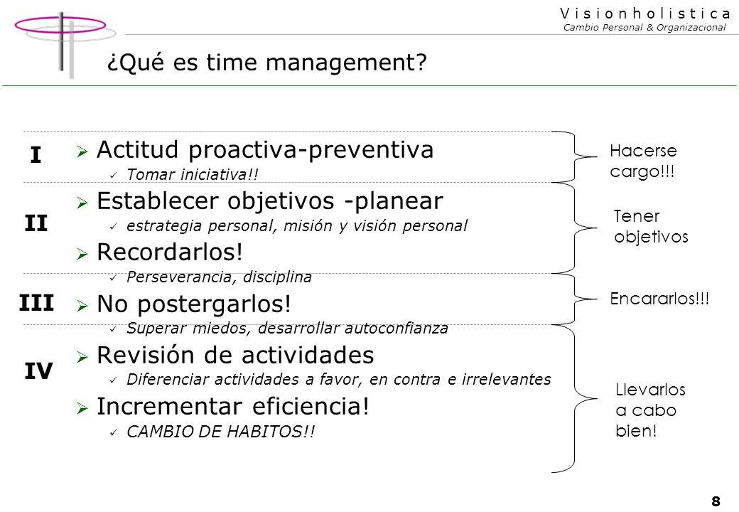 8 V i s i o n h o l i s t i c a Cambio Personal & Organizacional ¿Qué es time management.