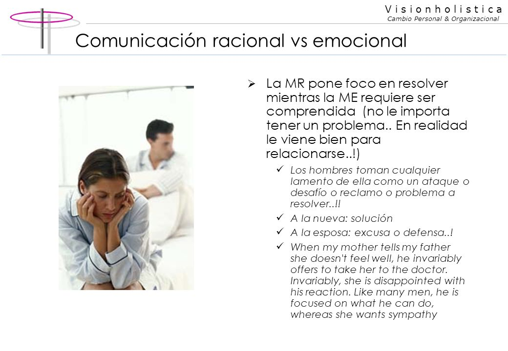 V i s i o n h o l i s t i c a Cambio Personal & Organizacional Comunicación racional vs emocional La persona racional pone foco en contenidos mientras