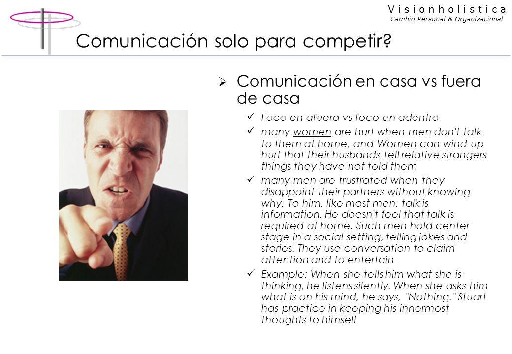 V i s i o n h o l i s t i c a Cambio Personal & Organizacional Comunicación racional vs emocional Pide directamente vs. da indicios para que le ofrezc