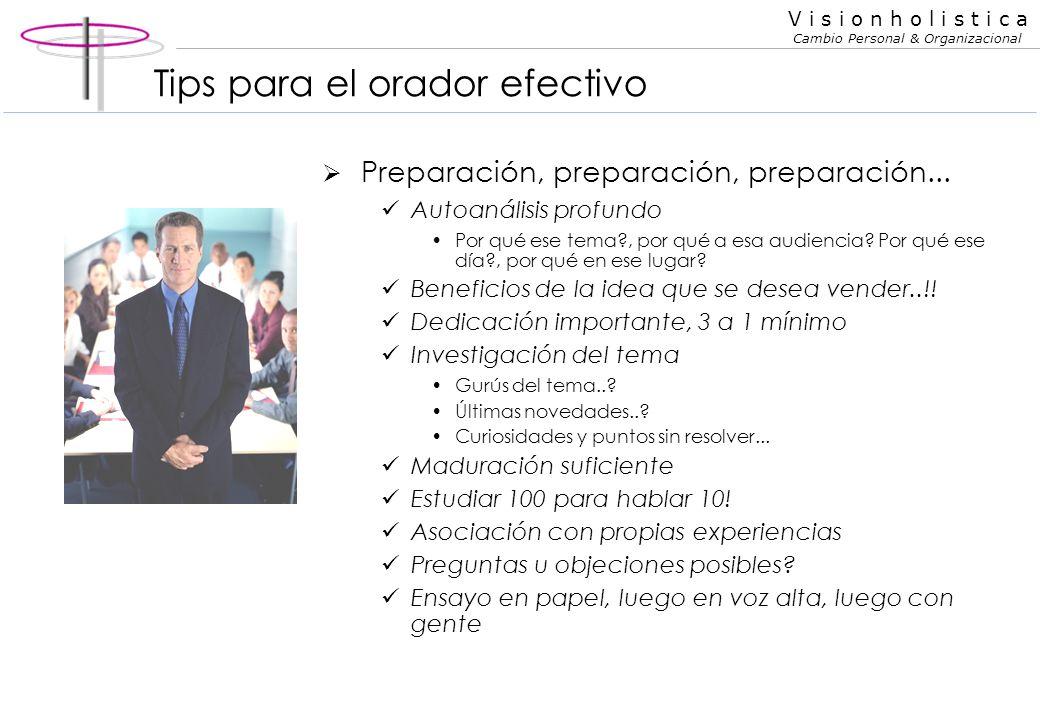 V i s i o n h o l i s t i c a Cambio Personal & Organizacional Tips para el orador efectivo Punto clave: Objetivo CLARISIMO! Pregunta básica para orie