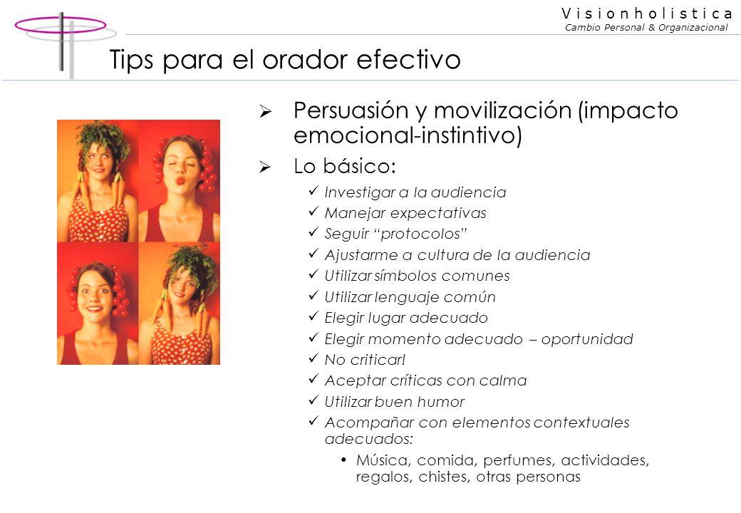 V i s i o n h o l i s t i c a Cambio Personal & Organizacional Tips para el orador efectivo Claridad y orden (impacto racional) Manejar repetición y r