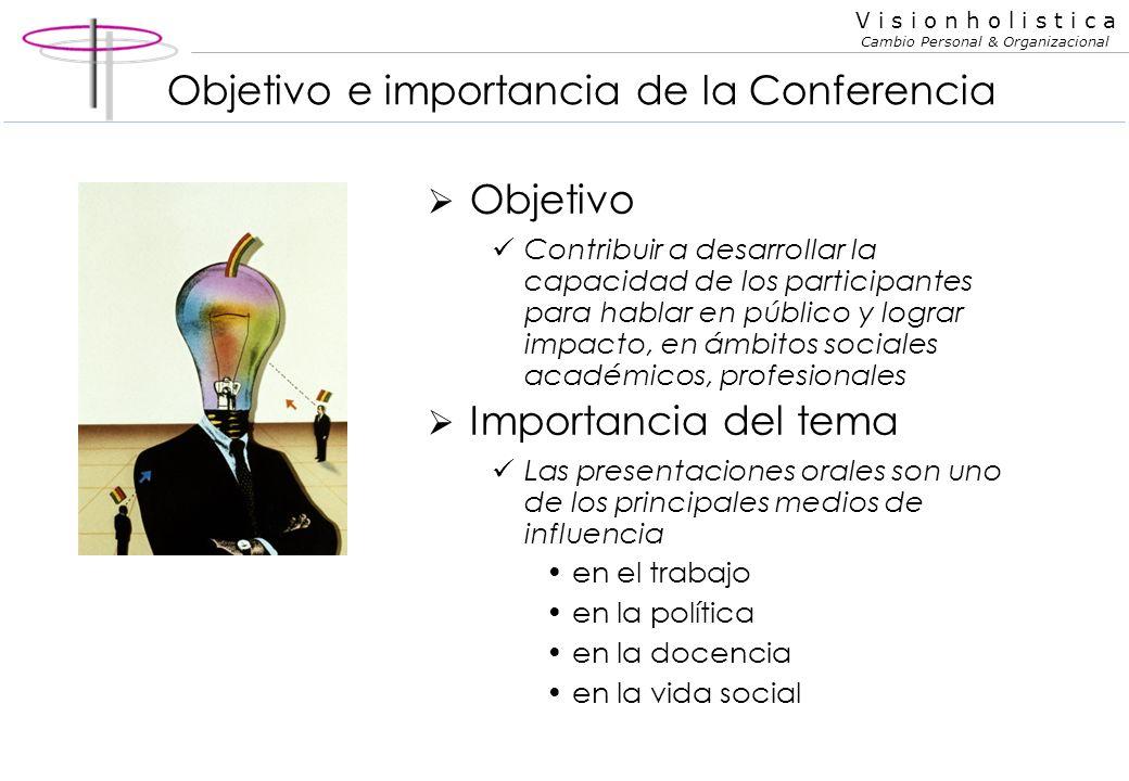 V i s i o n h o l i s t i c a Cambio Personal & Organizacional Oratoria y Presentaciones eficaces C Oratoria y Presentaciones eficaces Cómo desarrolla