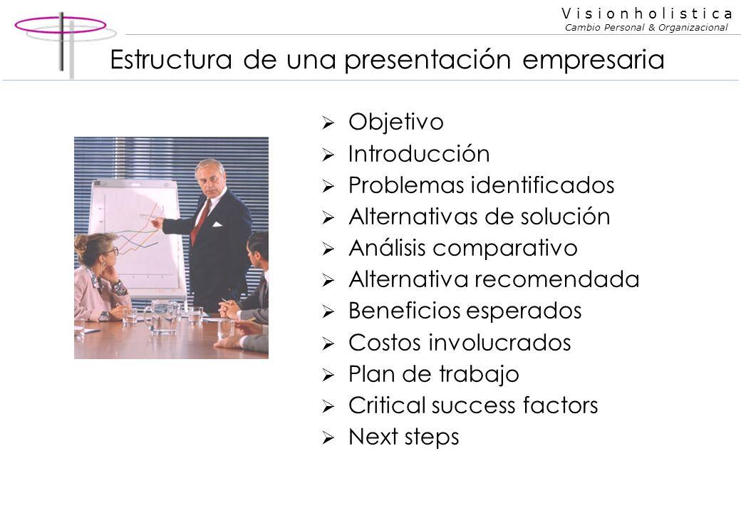 V i s i o n h o l i s t i c a Cambio Personal & Organizacional Tipos de discursos Informativo Persuasivo (venta) Para entretener De presentación de or