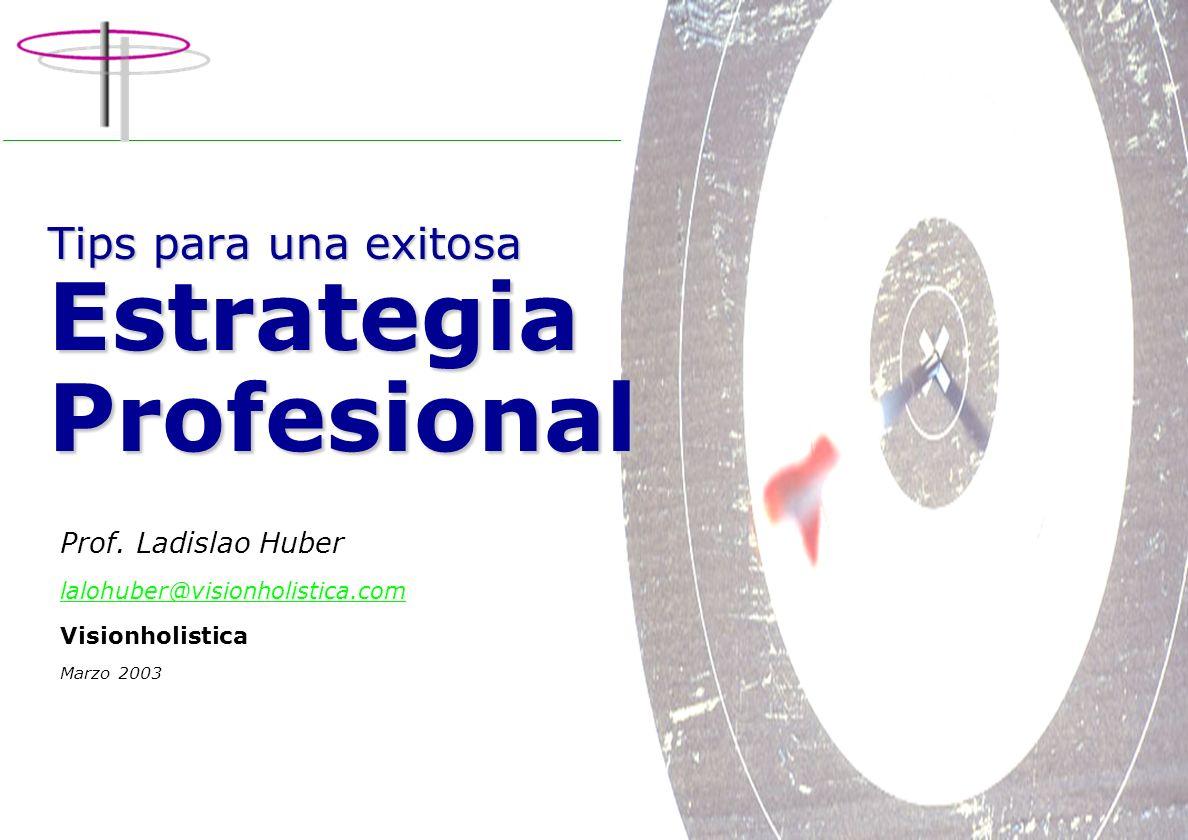 1 V i s i o n h o l i s t i c a Cambio Personal & Organizacional Tips para una exitosa Estrategia Profesional Prof.