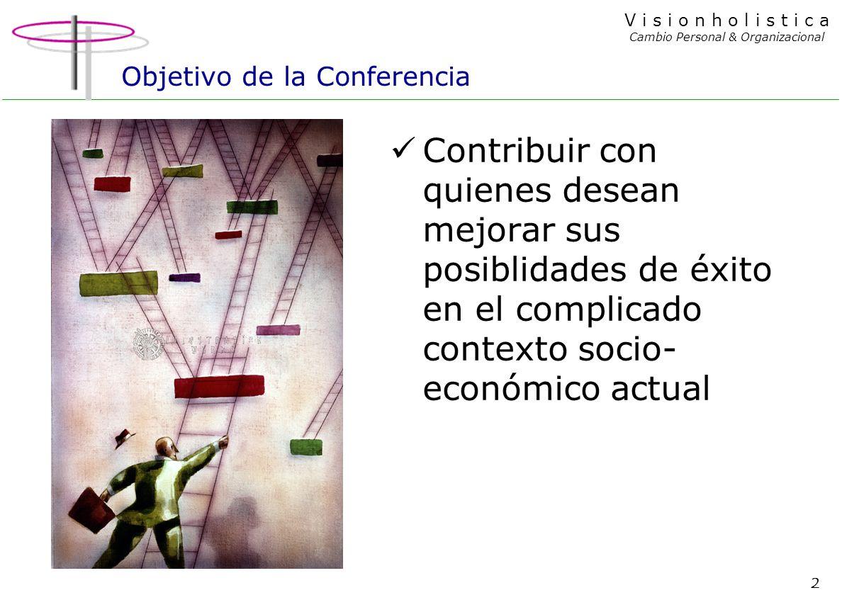 2 V i s i o n h o l i s t i c a Cambio Personal & Organizacional Objetivo de la Conferencia Contribuir con quienes desean mejorar sus posiblidades de éxito en el complicado contexto socio- económico actual