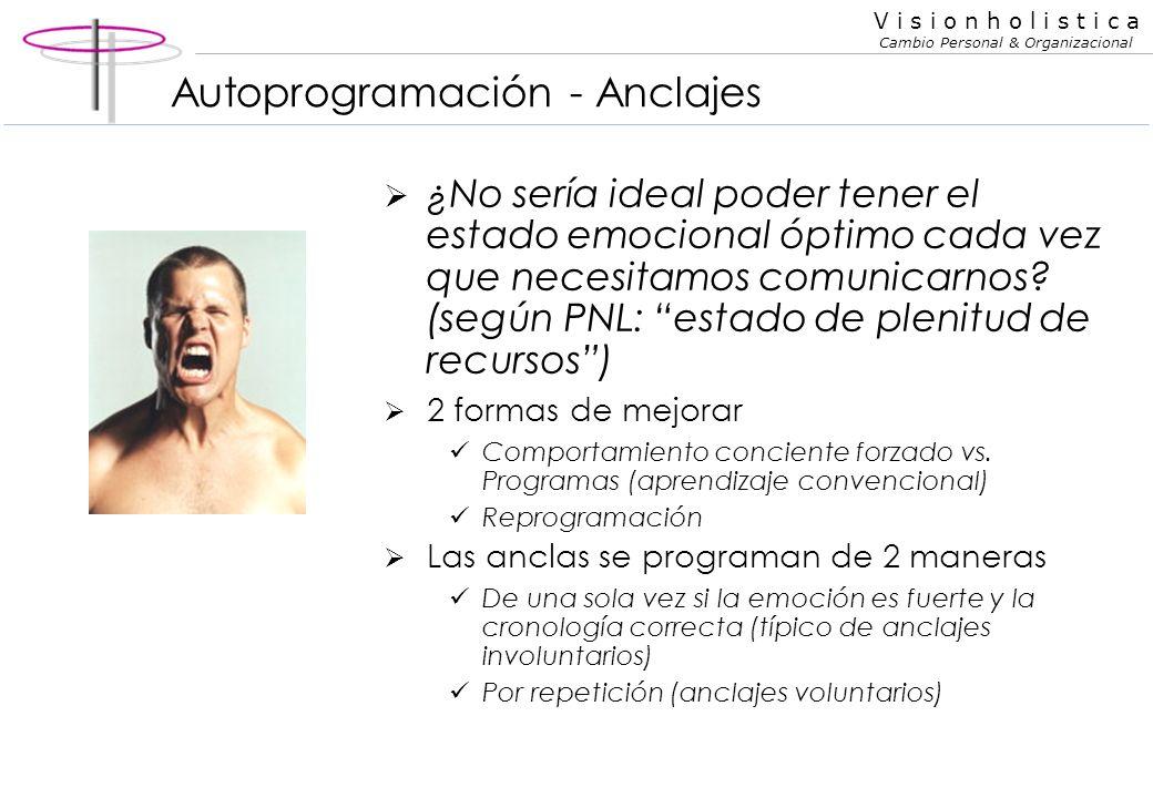 V i s i o n h o l i s t i c a Cambio Personal & Organizacional Acceso ocular Claves de acceso oculares Visual recuerdo Visual construido Auditivo cons