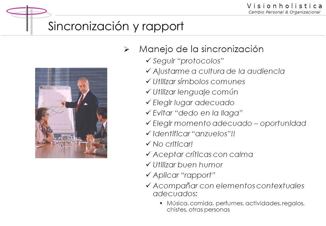 V i s i o n h o l i s t i c a Cambio Personal & Organizacional Rapport El rapport es un medio de sincronización El rapport abarca distintos aspectos: