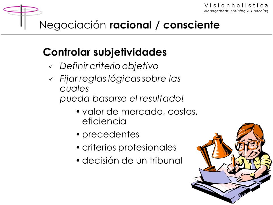 V i s i o n h o l i s t i c a Management Training & Coaching Controlar subjetividades Definir criterio objetivo Fijar reglas lógicas sobre las cuales