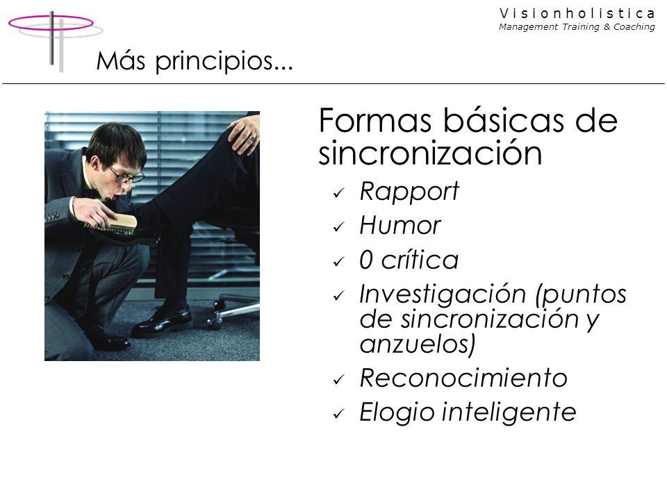 V i s i o n h o l i s t i c a Management Training & Coaching Más principios... Formas básicas de sincronización Rapport Humor 0 crítica Investigación