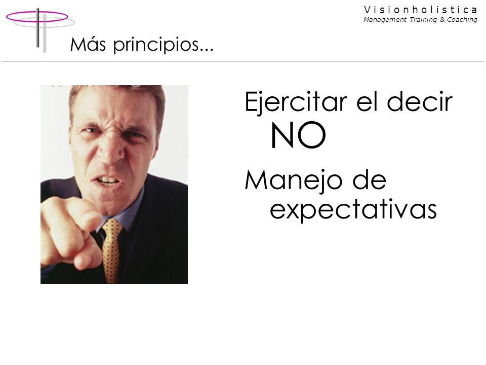 V i s i o n h o l i s t i c a Management Training & Coaching Más principios... Ejercitar el decir NO Manejo de expectativas
