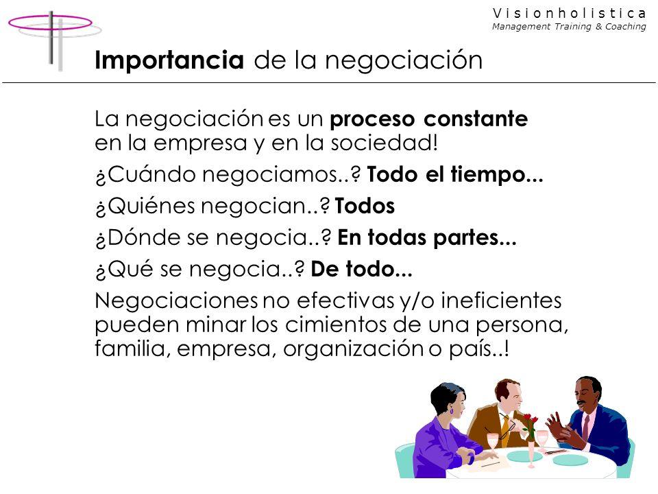V i s i o n h o l i s t i c a Management Training & Coaching Importancia de la negociación La negociación es un proceso constante en la empresa y en l