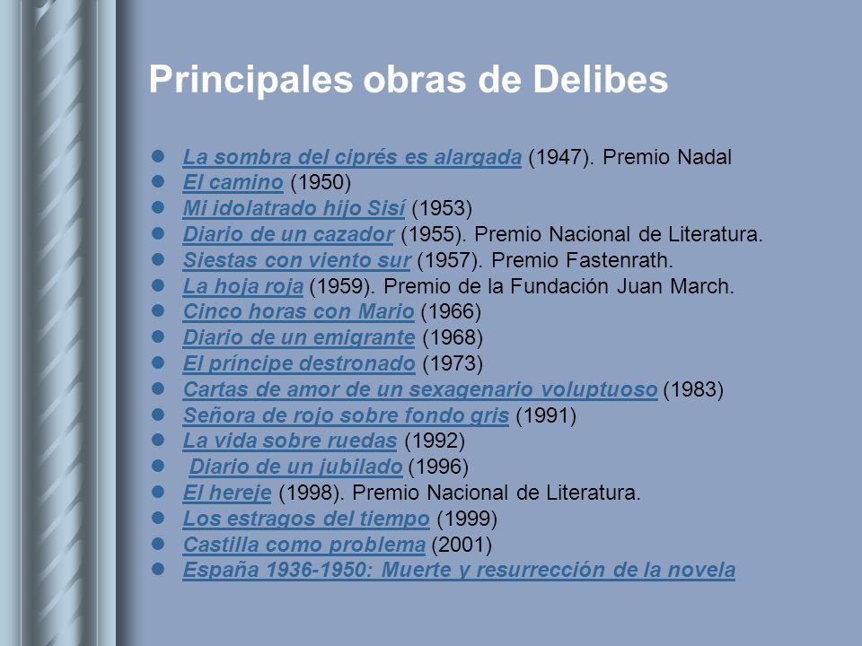 Principales obras de Delibes La sombra del ciprés es alargada (1947). Premio Nadal La sombra del ciprés es alargada El camino (1950) El camino Mi idol