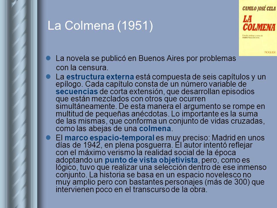 La Colmena (1951) La novela se publicó en Buenos Aires por problemas con la censura. La estructura externa está compuesta de seis capítulos y un epílo