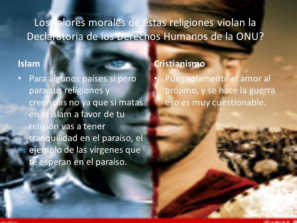 Los valores morales de éstas religiones violan la Declaratoria de los Derechos Humanos de la ONU? Islam Para algunos países si pero para sus religione