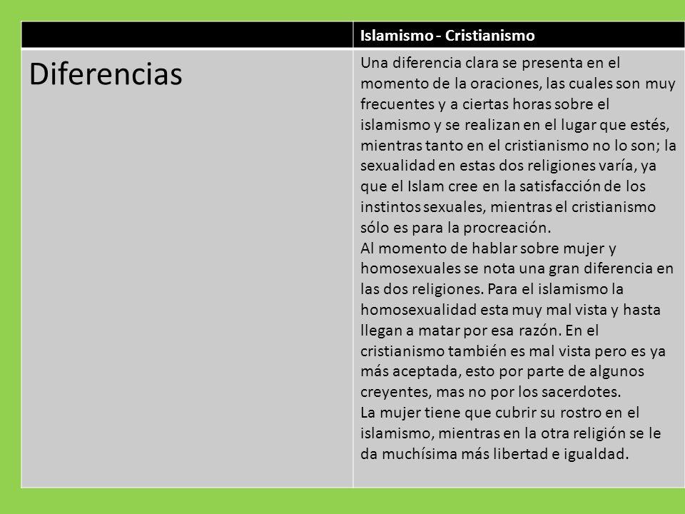 Islamismo - Cristianismo Diferencias Una diferencia clara se presenta en el momento de la oraciones, las cuales son muy frecuentes y a ciertas horas s
