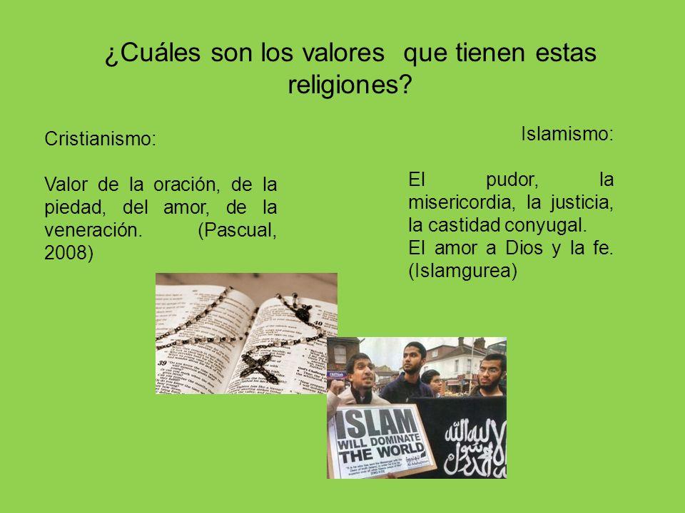 ¿Cuáles son los valores que tienen estas religiones? Cristianismo: Valor de la oración, de la piedad, del amor, de la veneración. (Pascual, 2008) Isla