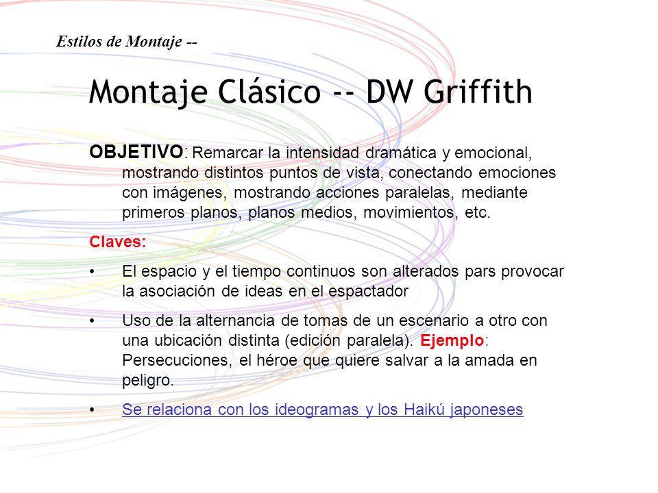 Montaje Clásico -- DW Griffith OBJETIVO: Remarcar la intensidad dramática y emocional, mostrando distintos puntos de vista, conectando emociones con i