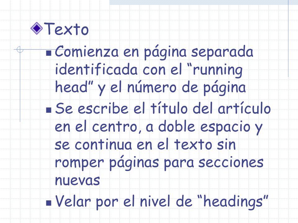 Texto Comienza en página separada identificada con el running head y el número de página Se escribe el título del artículo en el centro, a doble espac