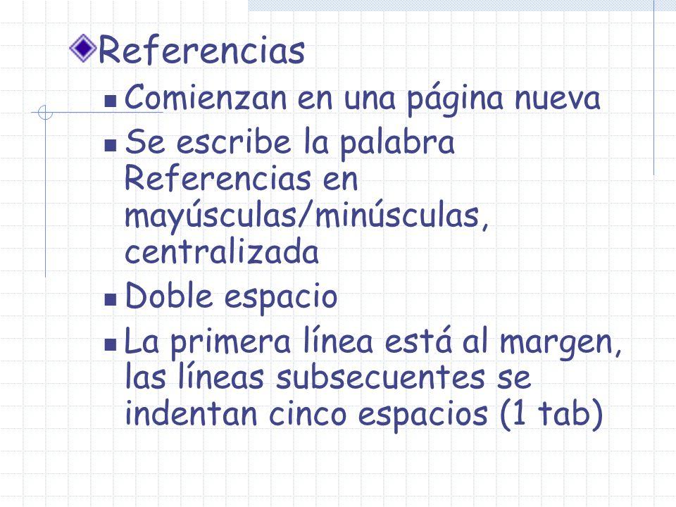 Referencias Comienzan en una página nueva Se escribe la palabra Referencias en mayúsculas/minúsculas, centralizada Doble espacio La primera línea está