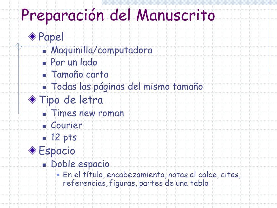 Preparación del Manuscrito Papel Maquinilla/computadora Por un lado Tamaño carta Todas las páginas del mismo tamaño Tipo de letra Times new roman Cour