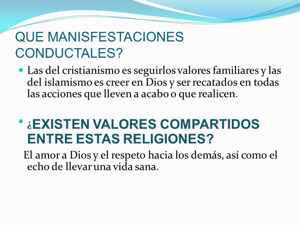 QUE MANISFESTACIONES CONDUCTALES? Las del cristianismo es seguirlos valores familiares y las del islamismo es creer en Dios y ser recatados en todas l