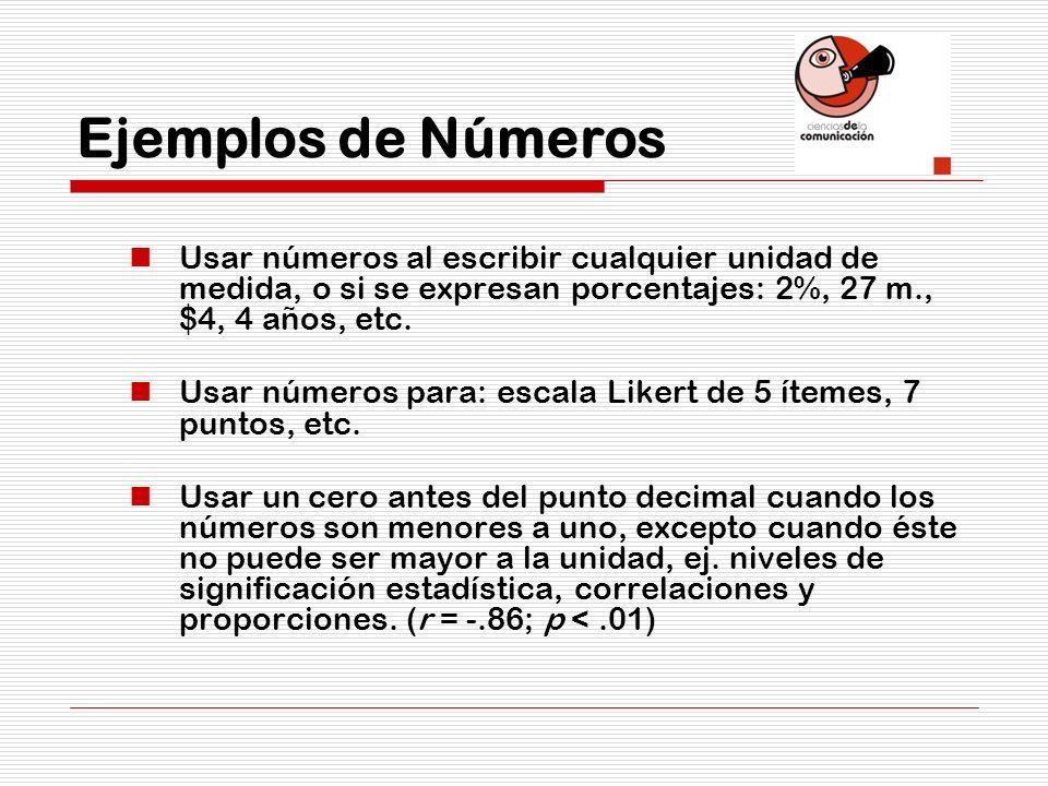 Ejemplos de Números Usar números al escribir cualquier unidad de medida, o si se expresan porcentajes: 2%, 27 m., $4, 4 años, etc. Usar números para: