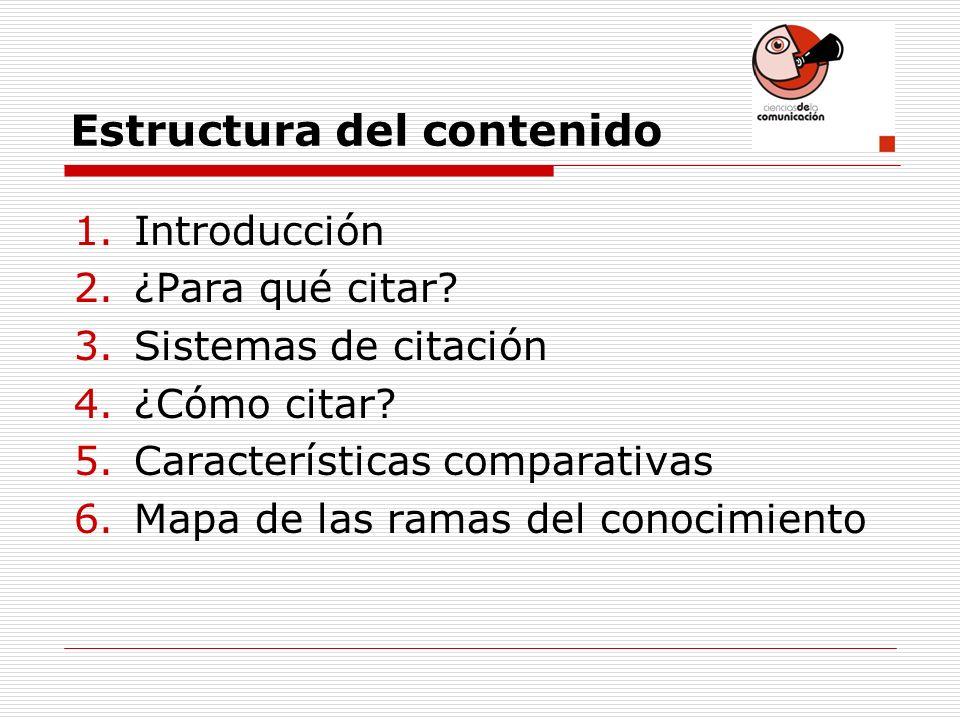 Estructura del contenido 1.Introducción 2.¿Para qué citar? 3.Sistemas de citación 4.¿Cómo citar? 5.Características comparativas 6.Mapa de las ramas de