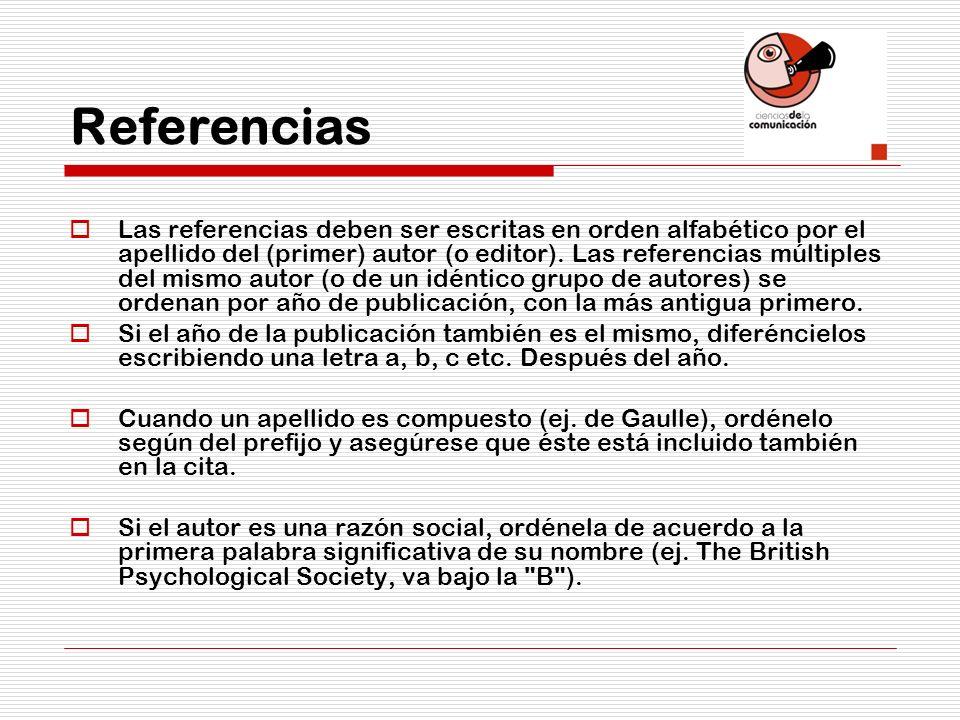 Referencias Las referencias deben ser escritas en orden alfabético por el apellido del (primer) autor (o editor). Las referencias múltiples del mismo