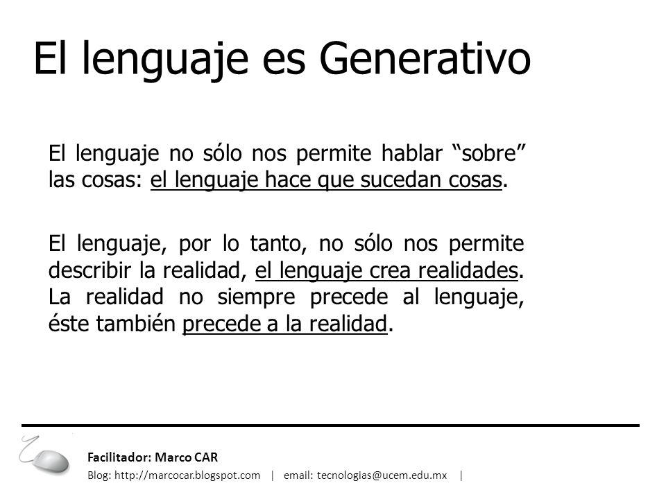 El lenguaje es Generativo El lenguaje no sólo nos permite hablar sobre las cosas: el lenguaje hace que sucedan cosas. El lenguaje, por lo tanto, no só