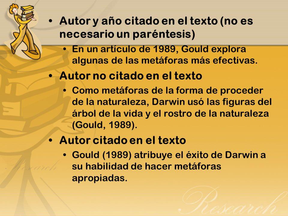 Citas Las citas cortas, de dos líneas o menos (40 palabras), pueden ser incorporadas en el texto usando comillas simples para indicarlas.