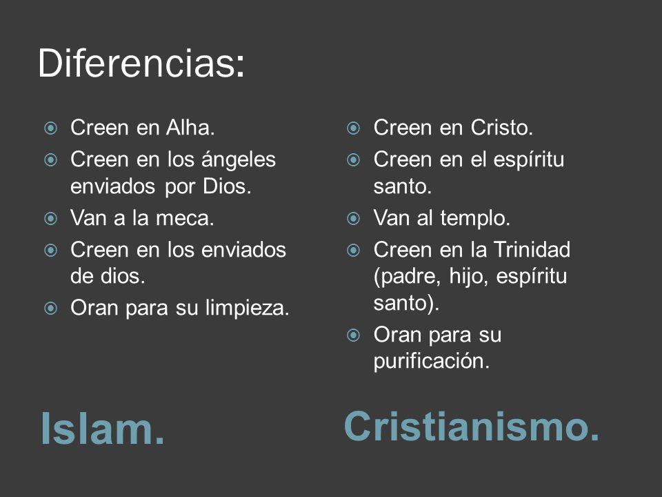Diferencias: Islam.Cristianismo. Creen en Alha. Creen en los ángeles enviados por Dios.