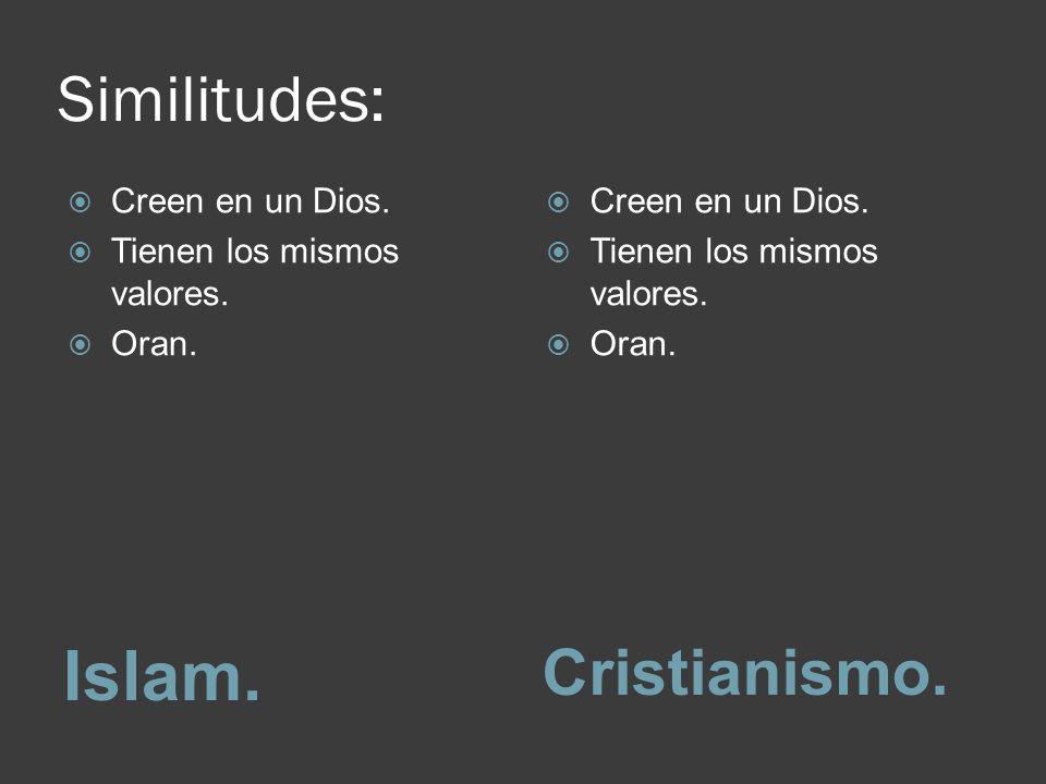 Similitudes: Islam.Cristianismo. Creen en un Dios.