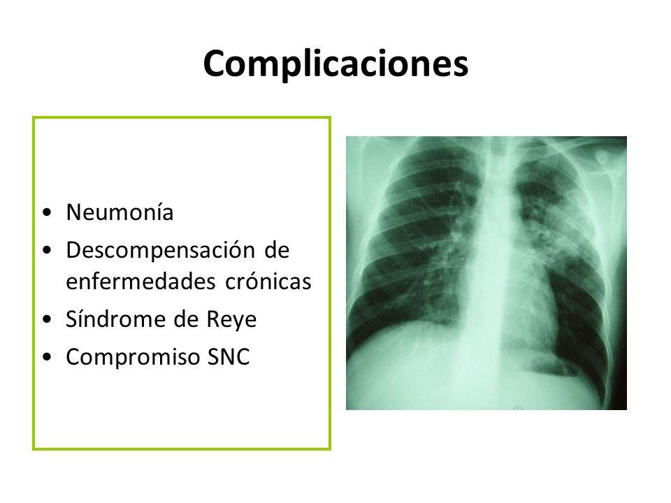Complicaciones Neumonía Descompensación de enfermedades crónicas Síndrome de Reye Compromiso SNC