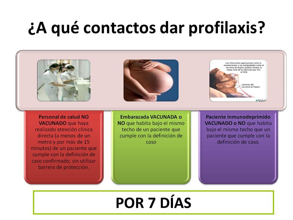 ¿A qué contactos dar profilaxis? POR 7 DÍAS