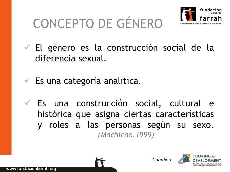 www.fundacionfarrah.org CONCEPTO DE GÉNERO El género es la construcción social de la diferencia sexual. Es una categoría analítica. Es una construcció