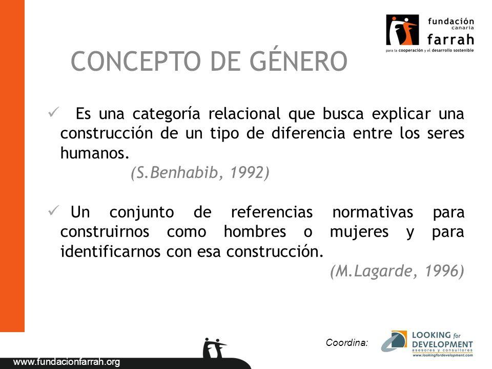 www.fundacionfarrah.org Es una categoría relacional que busca explicar una construcción de un tipo de diferencia entre los seres humanos. (S.Benhabib,