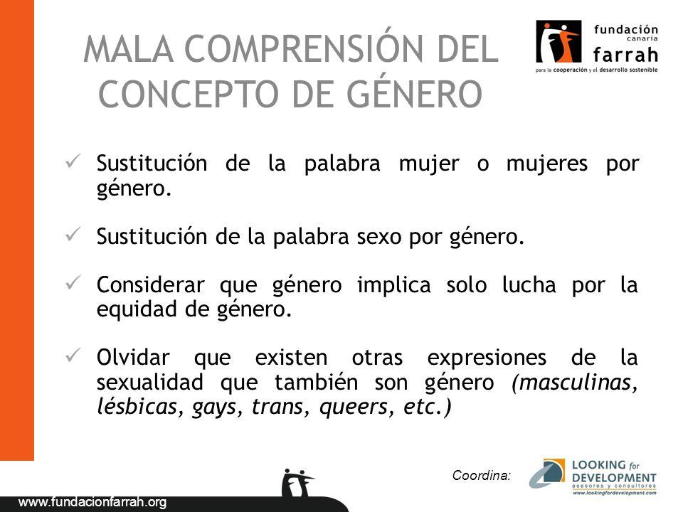 www.fundacionfarrah.org MALA COMPRENSIÓN DEL CONCEPTO DE GÉNERO Sustitución de la palabra mujer o mujeres por género. Sustitución de la palabra sexo p